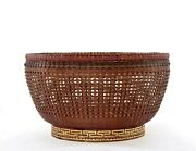 1930's Chinese Large Weave Woven Bamboo Basket Punch Bowl Centerpiece Gilt Foot