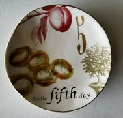 """Williams Sonoma Fifth Day """"12 Days Of Christmas"""" Illustrated Plate 2012"""