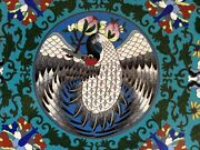 """Antique Chinese Cloisonne Table . Plaque 13"""" With Kangxi Style Crane ."""