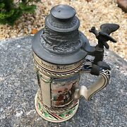 Antique German Stein Military Hand Painted Marked 1908