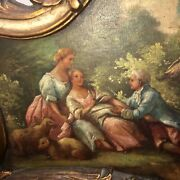 Antique French Trumeau Mirror - Excellent Oil Painting With Amazing Detail