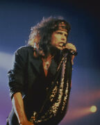 Steve Tyler Iconic Pose In Concert 1980's In Black Shirt And Scarf 16x20 Canvas