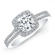 1.45 Ct Real Diamond Engagement Round Cut Ring Solid 14k White Gold Size 8