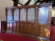 Fantastic Antique Gothic Oak Fancy Leaded Glass Room Divider Wall 1 Of 2 1912