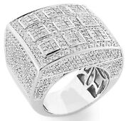 +aaa Cz Tic Tac Toe Dome Cluster Menand039s Rings 925 Sterling Silver Platinum Finish