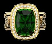 Green Emerald Cut Halo Engagement Rings Yellow Gold Plated 925 Sterling Silver