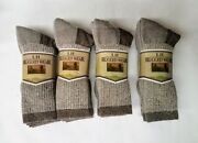 12 Pr Brown Heather Hiking Boot Mid-calf Acrylic Blend Socks Small-med Free Ship