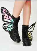Rare Dolls Kill Metamorphic Glitter Boots Limited Edition Sold Out Size 6