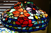 Reproduction Lamp Shade 18 Pink Purple Peony Stained Glass Odyssey