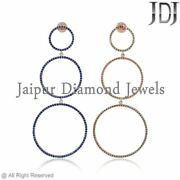 3.56ct Blue Sapphire Wedding Earrings Rose Gold 14k Fine Jewelry Christmas Gifts