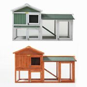 58 Wooden Rabbit Hutch Large Chicken Coop Hen House Bunny Animal Cage With Run
