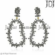 Natural Baguette Diamond Earrings Solid Silver Womenand039s Jewelry Christmas Gifts