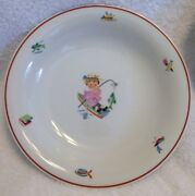 2 Little Girl Fishing In Rowboat Bowls By Tirschenreuth Made In Germany
