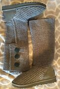 Ugg Australia Womenand039s Size 7 Classic Cardy Boots 5819 Gray Triplet Bailey Button