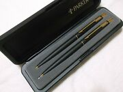 Parker Classic Matte Black Andgold Trim Ballpoint Pen And .5mm Pencil / Made In Usa