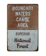 Wall Decor Boundary Waters Canoe Area Superior National Forest Metal Tin Sign