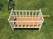 Antique Toy Wood Baby Crib , White, Bunnies, Wood Wheels, Made In Sweden