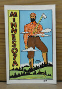 Original Vintage Travel Decal Minnesota Paul Bunyan Lumberjack Logging Auto Old