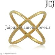 Cross Ring Real 14k Yellow Gold Jewelry Friendship Love Crown Band Size Us 7