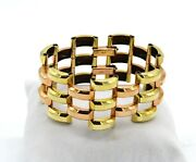 Vintage 1940and039s Retro Two Tone Gold Tractor Tread Link 1/20th 12k Gold Bracelet
