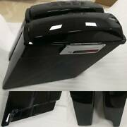 Black 4 1/2 Left Side No Cutout Extended Saddlebags Fit For Harley 1993-13 Lock