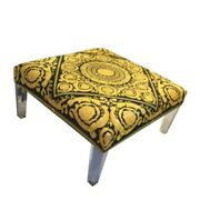 Charles Hollis Style Large Ottoman-coffee Table With Versace Baroque Gold Black