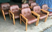 8 Danish Mid Century Modern 1950s 60s Leather Ash Frame Lounge Chairs By Komfort