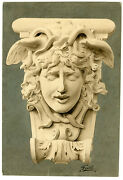 Antique Drawing - Medusa-snakes-acanthus-architecture-feith-own Design - C. 1920