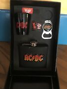 2007 Vintage Ac/dc Gift Box Set - Flask, Bottle Opener Key Chain And Shot Glass