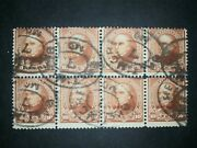 Rivus Used 283 Block Of Eight Perf Seps 1898 Webster Type Ii 10 Cent Perf 12 2j