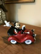 Disney Mickey Mouse In Car Resin Statue Figurine With Box