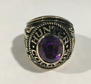 10k Yellow Gold Hunter College 1972 School Ring With Purple Stone