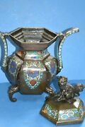 Large Antique 19th Century Chinese Bronze Cloisonne Censor With Lid C1870