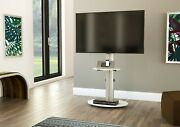 Mahara Tv Stand With Swivel Vesa Bracket Silver With White Glass Up To 55