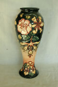 Vintage Tall Moorcroft Art Pottery Hand Painted 1993 Floral Vase Red And Black