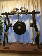 """Antique Original African Crafted Wood Big Tall Statue 18"""" Gong Stand Art Tribal"""