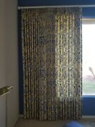 Custom Made Drapes Curtain Blue Yellow Floral Lined 184 X 119 Home Decor
