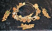 Christmas Holiday Decorations Garland Grape Bunches Pine Cones Gold X-mas C-6