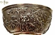 19th Century Chinese Solid Silver Repousse Bowl Bamboo And Bird Marked