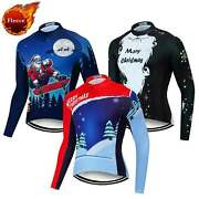 Christmas Winter Bicycle Clothes Menand039s Thermal Cycling Jersey Long Sleeve Shirt