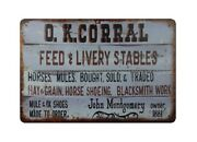 Retro Tin Signs O.k Corral Feed Livery Stables Metal Tin Sign