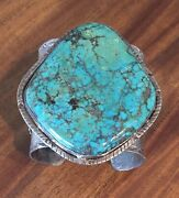 Vintage Native American Silver Cuff Bracelet W/ Enormous Turquoise Stone 209 Gm