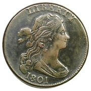 1801 S-219 R-2 3 Error Rev Draped Bust Large Cent Coin 1c