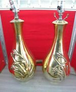 Magnificent Mid Century Bulbous Brass W/ Sheaf Of Wheat Pair Of Table Lamps