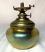 Loetz Candia Gold Papillon Small Oil Lamp Quite Nice And Quite Rare