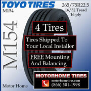 Motor Home Tires 265 75r22.5 Toyo Includes Shipping And Installation