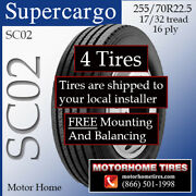 Motor Home Tires 255 70r22.5 Supercargo Includes Shipping And Installation