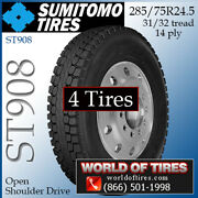 Sumitomo St908 4 Commercial Tires 285/75r24.5 With Free Shipping