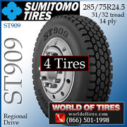 Sumitomo St909 4 Commercial Tires 285/75r24.5 With Free Shipping