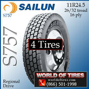 Sailun S757 4 Commercial Tires 11r24.5 With Free Shipping